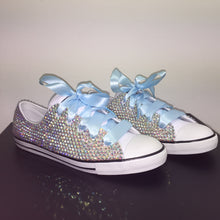 Dainty Converse With AB Crystal Diamonds With Baby Blue Ribbon Laces