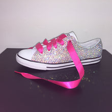 Hot pink satin laces crystals by nicole