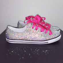 Dainty Converse With AB Crystal Diamonds & Fuchsia Pink Ribbon Laces
