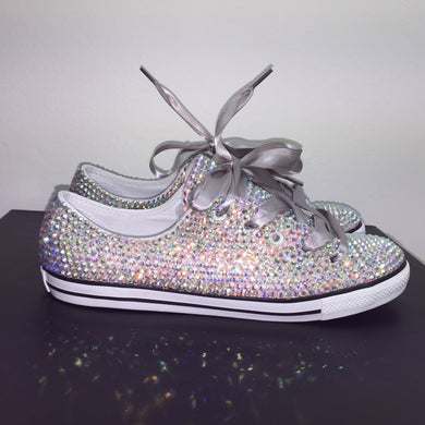Dainty Converse With AB Crystal Diamonds & Silver Ribbon Laces