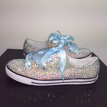 Dainty Converse With AB Crystal Diamonds & Baby Blue Ribbon Laces