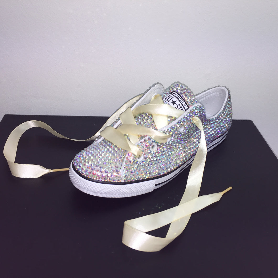 77ef5a9fdbd1 ... Dainty Converse With AB Crystal Diamonds   Ivory Ribbon Laces ...