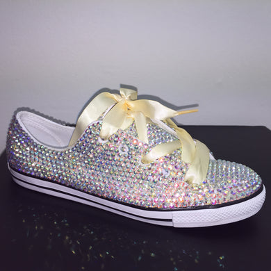 Dainty Converse With AB Crystal Diamonds & Ivory Ribbon Laces