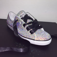 Dainty Converse With AB Crystal Diamonds & Black Ribbon Laces