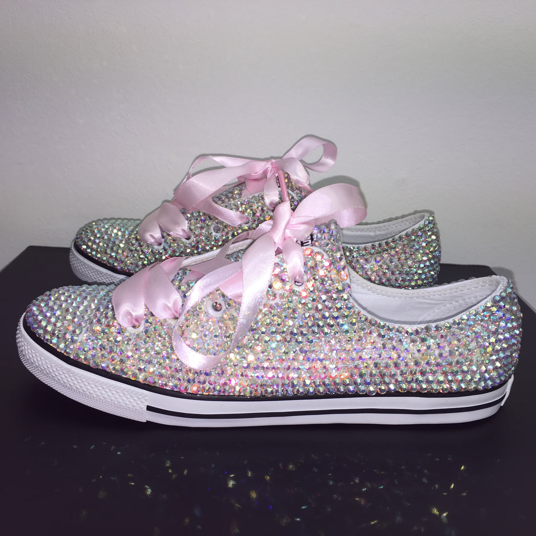 2de85c42c1ef ... Dainty Converse With AB Crystal Diamonds   Baby Pink Ribbon Laces ...