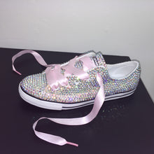 Dainty Converse With AB Crystal Diamonds & Baby Pink Ribbon Laces