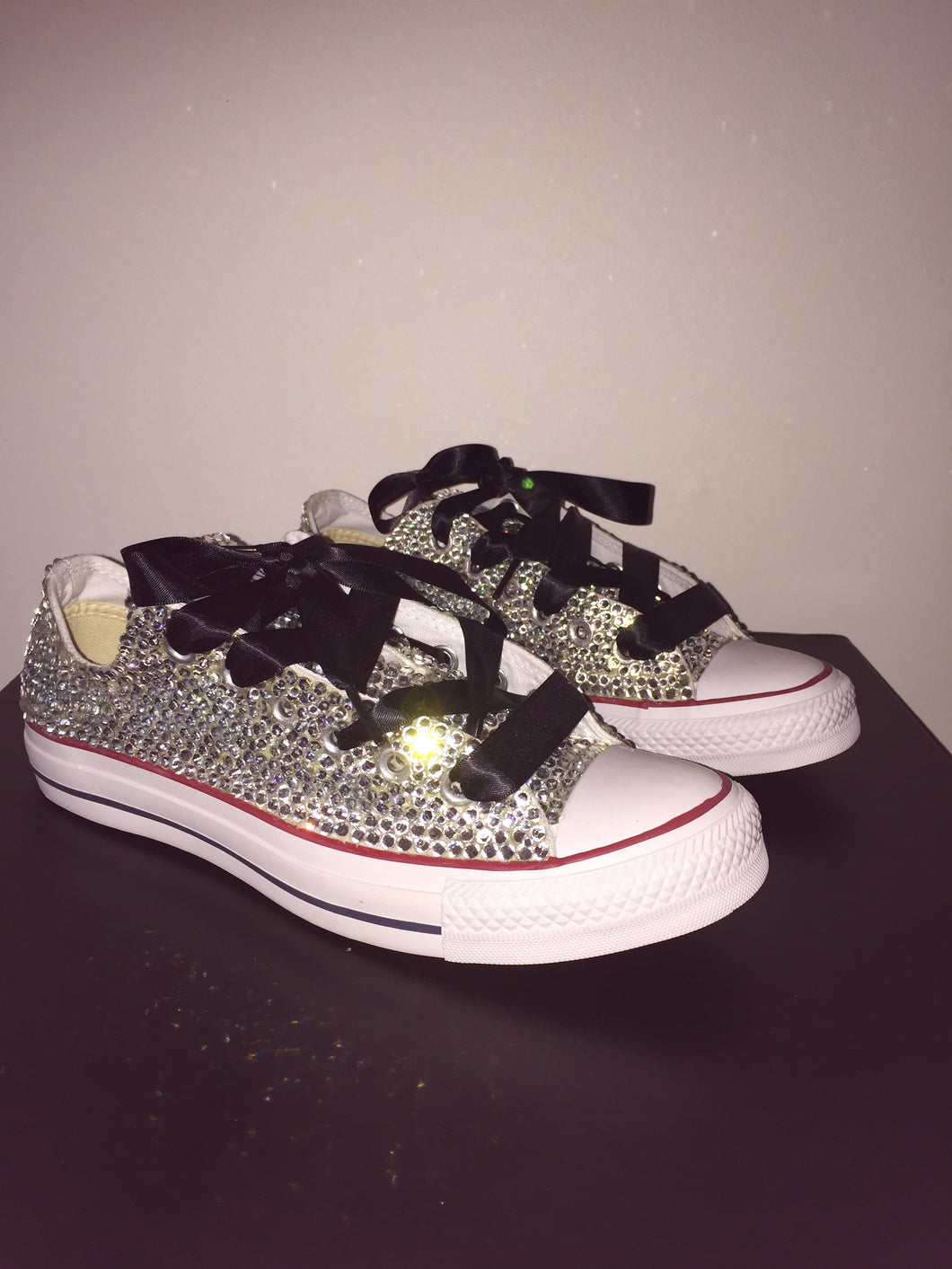 ... All Star Converse With Crystal Diamonds With Black Ribbon Lace Combo ... 263d377e6
