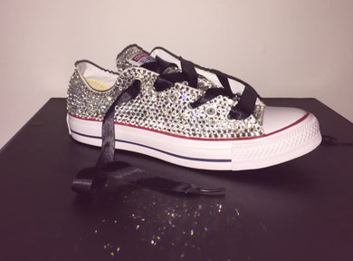 All Star Converse With Crystal Diamonds With Black Ribbon Lace Combo