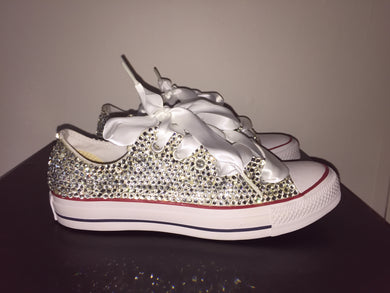 All Star Converse With Crystal Diamonds With White Ribbon Lace Combo