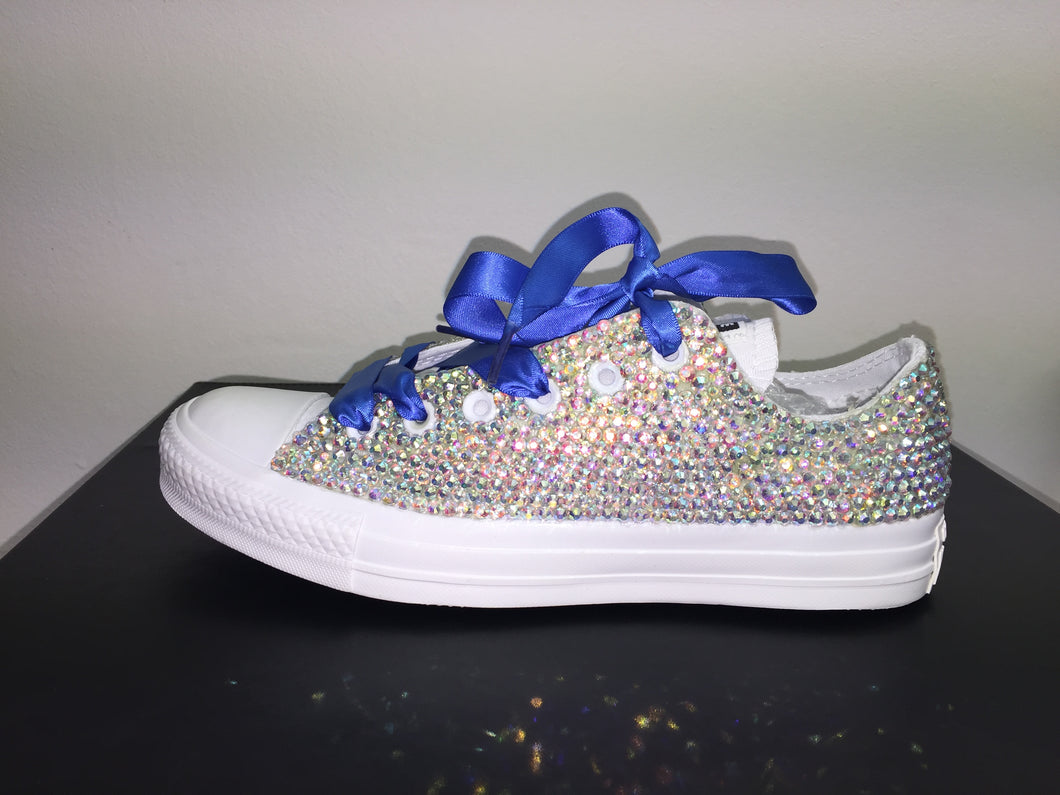 7e38c50f3884 ... All Star Mono White Converse With Crystal AB Diamonds With Royal Blue  Ribbon Lace Combo ...