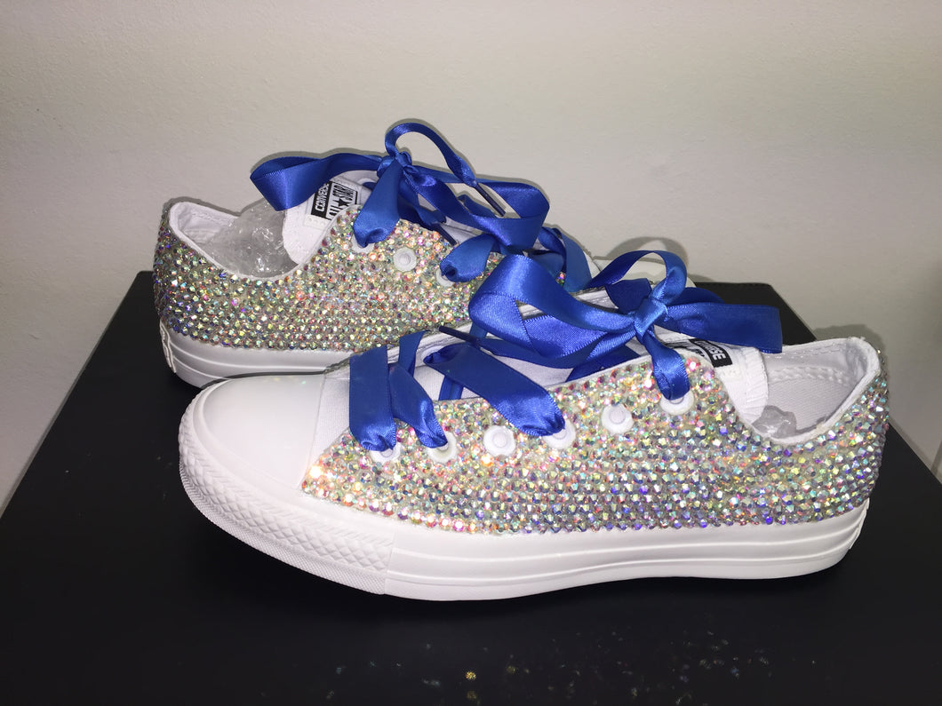 6e99a3cab283 ... All Star Mono White Converse With Crystal AB Diamonds With Royal Blue  Ribbon Lace Combo ...