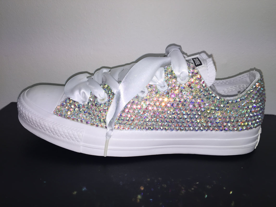 209cba84468e ... All Star Mono White Converse With Crystal AB Diamonds With White Ribbon  Lace Combo ...