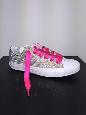All Star Mono White Converse With Crystal AB Diamonds With Fuschia Pink Ribbon Lace Combo