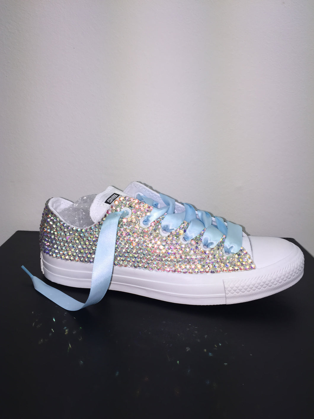 52cffb02e1b8 ... All Star Mono White Converse With Crystal AB Diamonds With Baby Blue  Ribbon Lace Combo ...