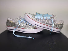 All Star Converse With Crystal Diamonds With Baby Blue Ribbon Lace Combo