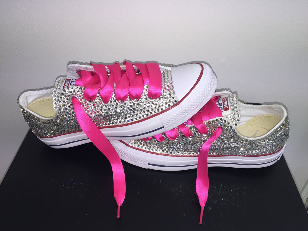 891a1bd13c8 All Star Converse With Crystal Diamonds Custom Chucks Hot Pink Laces ...