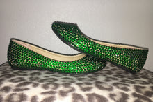 Bedazzled Ballet Flats In Nude With Emerald Green Crystals
