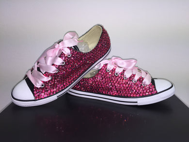 baby pink dainty converse crystals by nicole