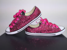 Dainty Converse With Hot Pink Crystal Diamonds & Fuschia Pink Ribbon Lace Combo