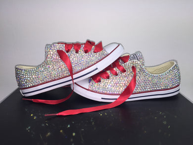 Red Dainty converse Crystals BY nicole