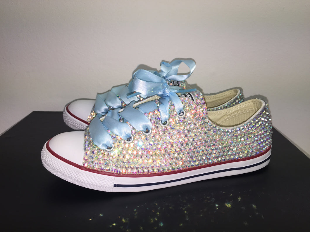 95540cf38972 ... Dainty Converse With AB Crystal Diamonds With Baby Blue Ribbon Lace  Combo ...