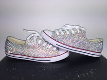 Dainty Converse With AB Crystal Diamonds With Baby Blue Ribbon Lace Combo