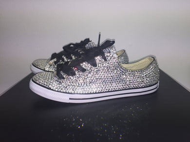 Dainty Converse With Crystal Diamonds & Black Ribbon Laces