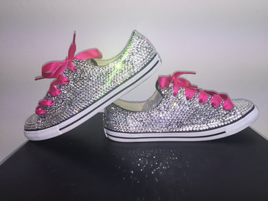 Dainty Converse With Crystal Diamonds & Hot Pink Ribbon Laces