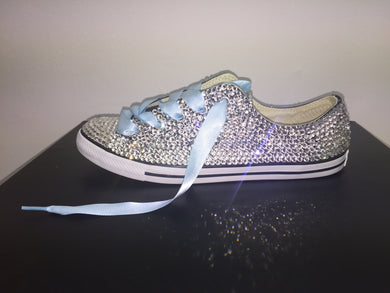 Dainty Converse With Crystal Diamonds & Baby Blue Ribbon Laces