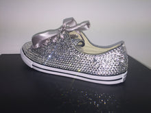 Dainty Converse With Crystal Diamonds & Silver Ribbon Laces