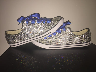 Dainty Converse With Crystal Diamonds & Royal Blue Ribbon Laces