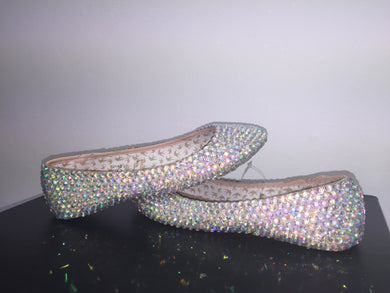 Bedazzled Ballet Flats In Nude With AB Crystals
