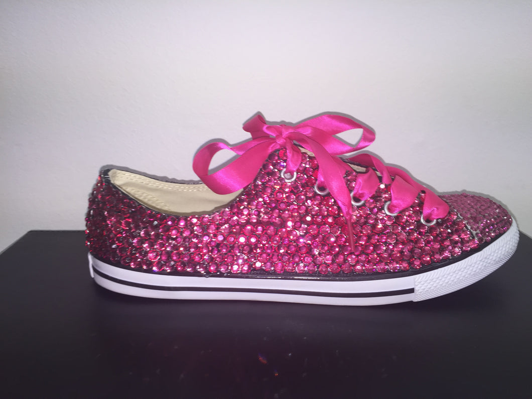 Dainty Converse With Hot Pink Crystal