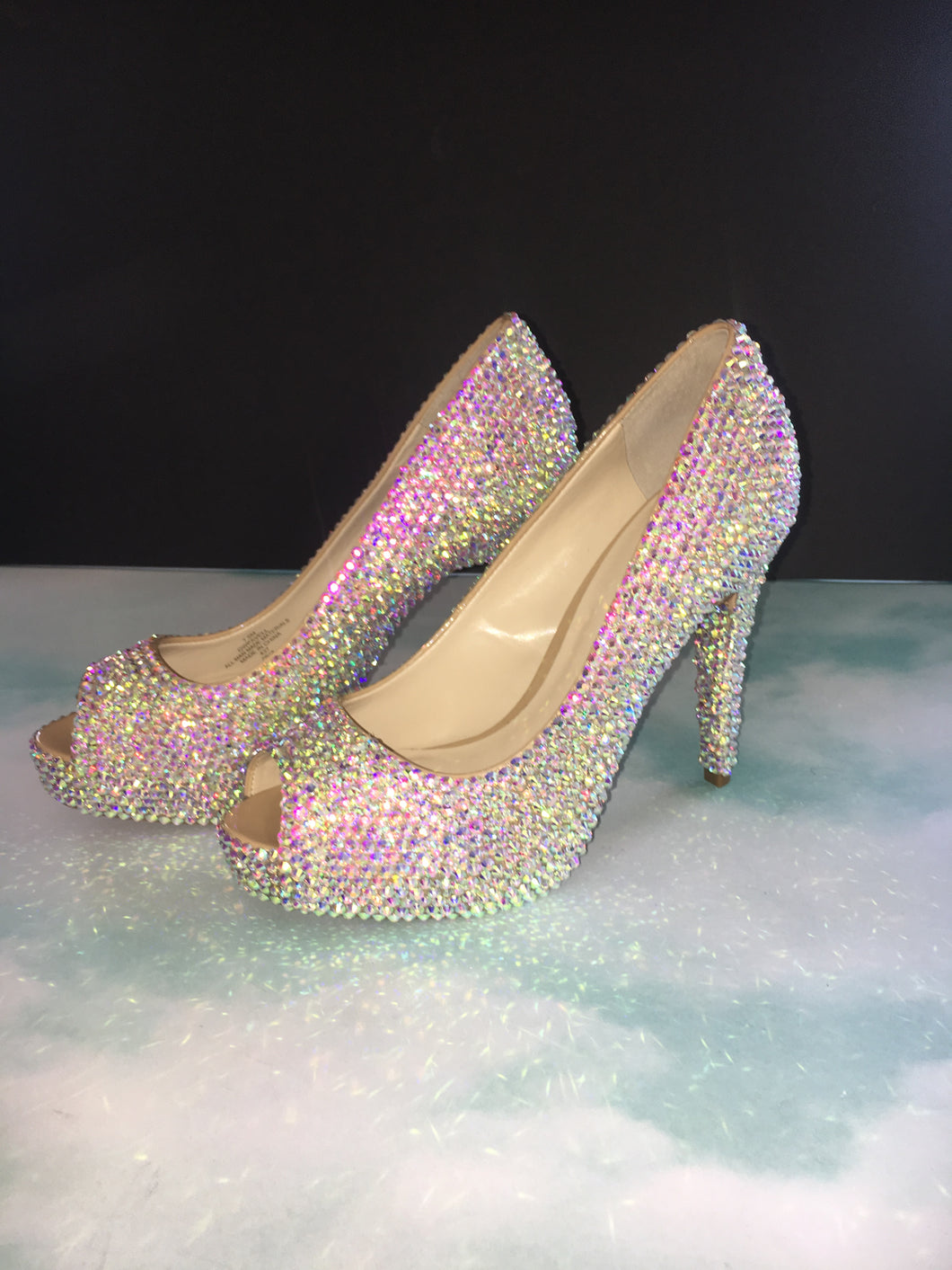 AB Crystal Swarovski Element Diamond PeepToe Heels