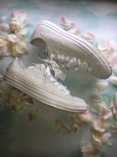 All Star Mono White Converse With Pure White Pearls &  With White Ribbon Laces