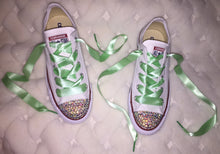 All Star Converse With AB Crystal & Mint Green Ribbon Laces