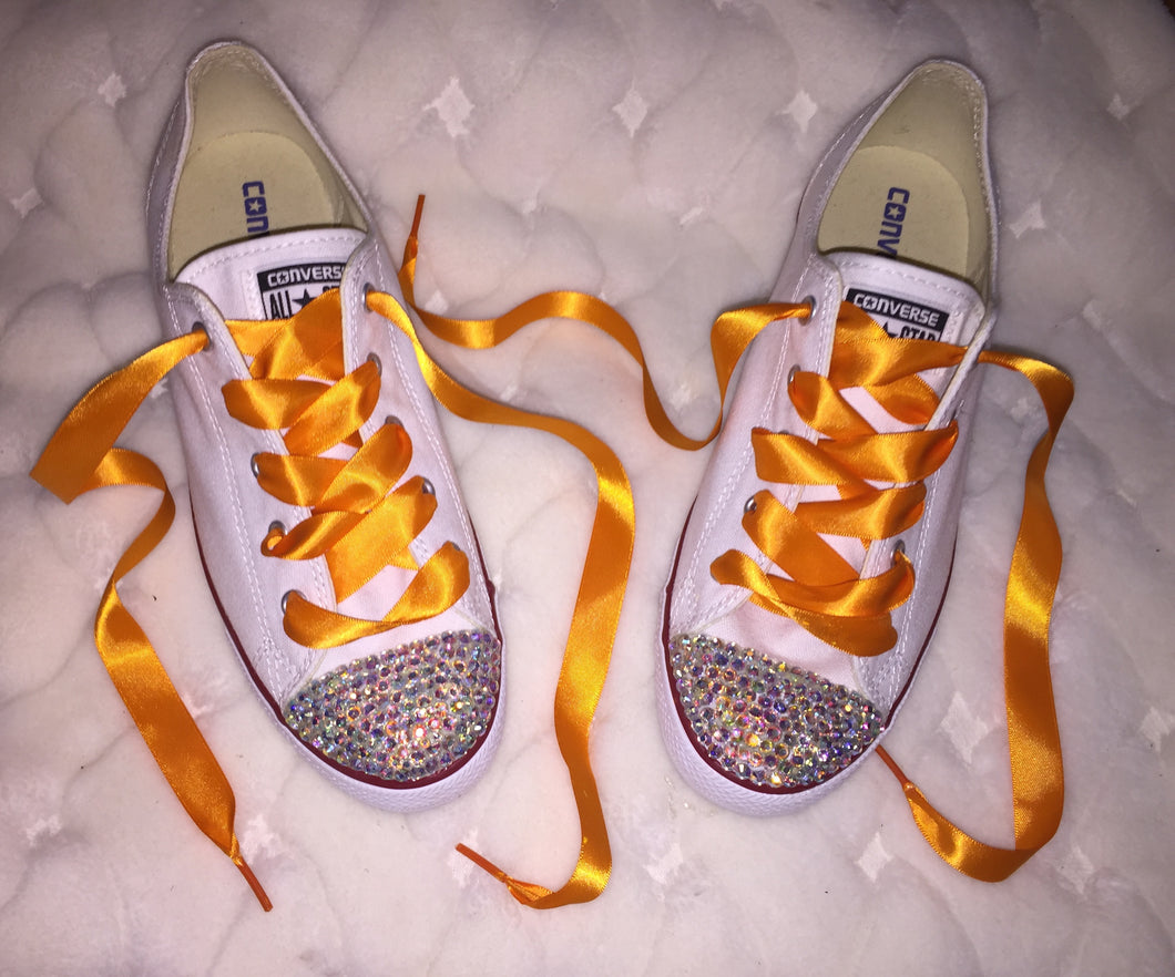 Dainty All Star Converse With AB Crystal & Light Orange