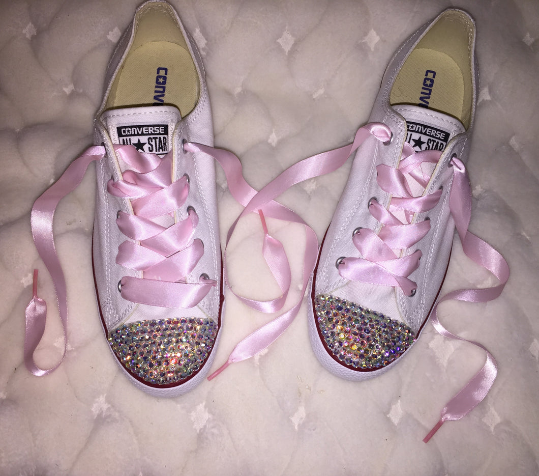 8e8ecc7d76eb ... Dainty All Star Converse With AB Crystal   Baby Pink Ribbon Laces ...