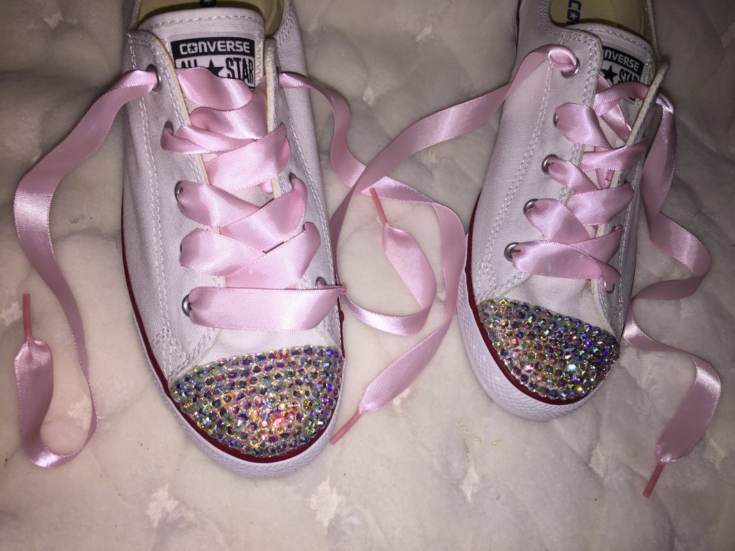 2c380135e4e9f8 ... Dainty All Star Converse With AB Crystal   Baby Pink Ribbon Laces ...