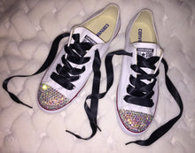Dainty All Star Converse With AB Crystal & Black Ribbon Laces