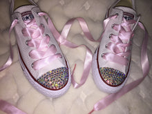 All Star Converse With AB Crystal & Baby Pink Ribbon Laces
