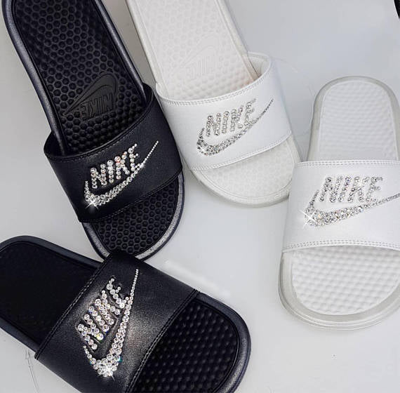 Bedazzled Crystal Nike Slides In Black – Crystals By Nicole X Luxury ... 3c8309956