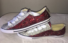 Dainty Converse With Red & Crystal Diamonds White Ribbon Laces