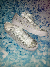 Monochrome White Converse With Crystal Moonstone Pearls & White Ribbon Laces