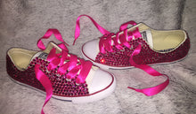 Dainty Converse With Hot Pink Crystal Diamonds & Fuchsia Pink  Ribbon Laces