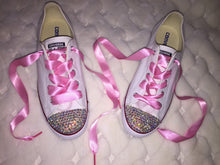 Dainty All Star Converse With AB Crystal & Pink Ribbon Laces