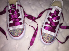 crimson burgundy maroon ribbon converse crystals by nicole