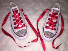 All Star Converse With AB Crystal & Red Ribbon Laces