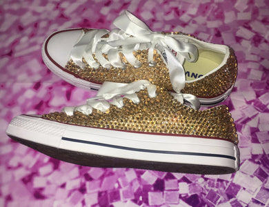 Original White Converse With Champagne Gold Diamonds With White Ribbon Laces