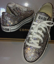 Dainty Converse With Crystal Diamonds & Ivory Ribbon Laces